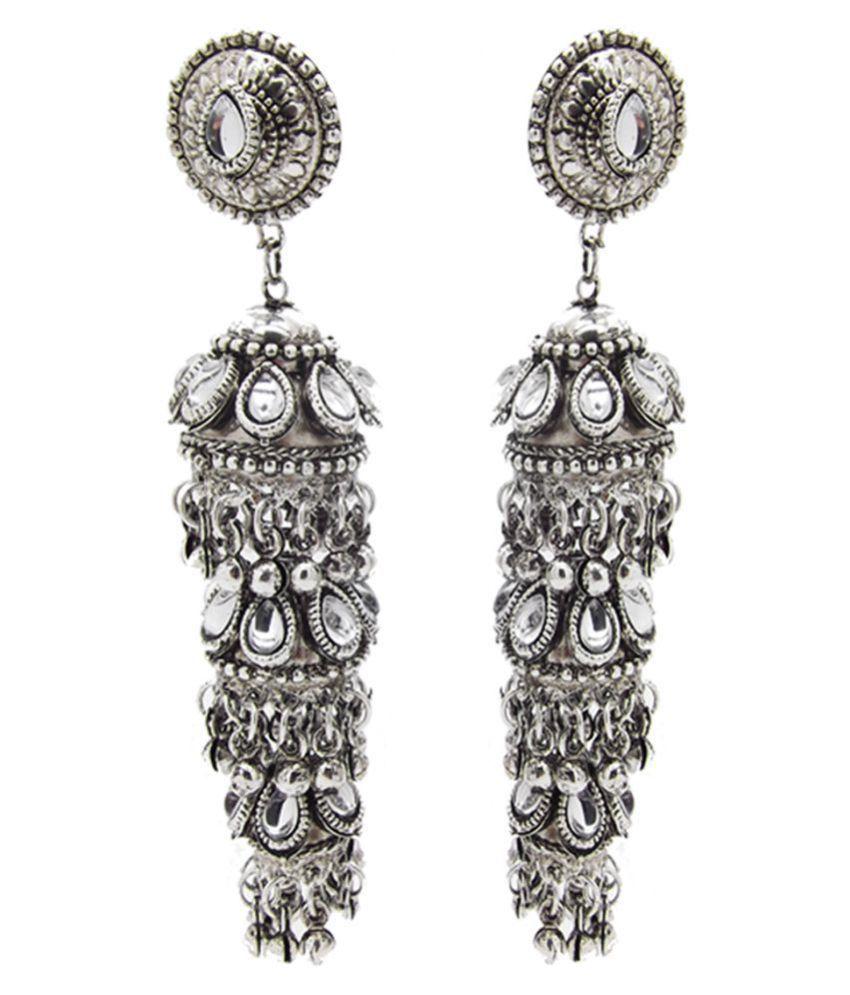 Biyu Silver Plated Oxidized Kundan Triple Jhumka Jhumki Metal Earrings