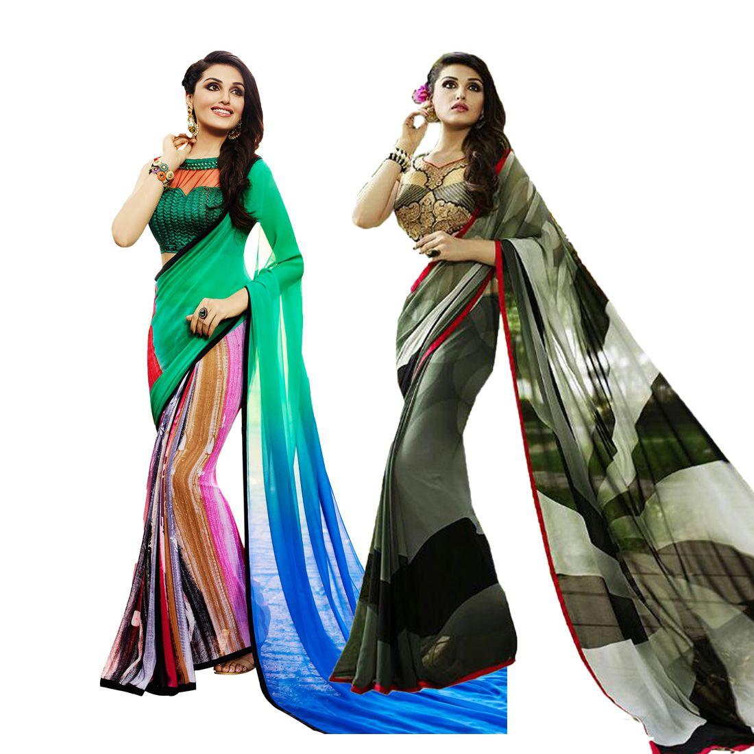 Fashion Zone Multicoloured Georgette Saree Combos
