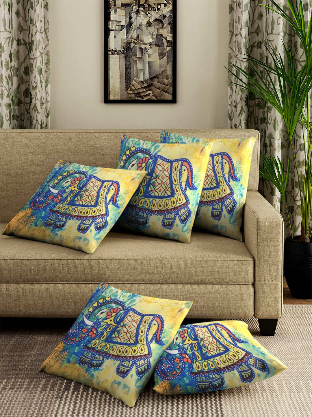 Portiere Set of 5 Polyester Cushion Covers 30X30 cm (12X12)