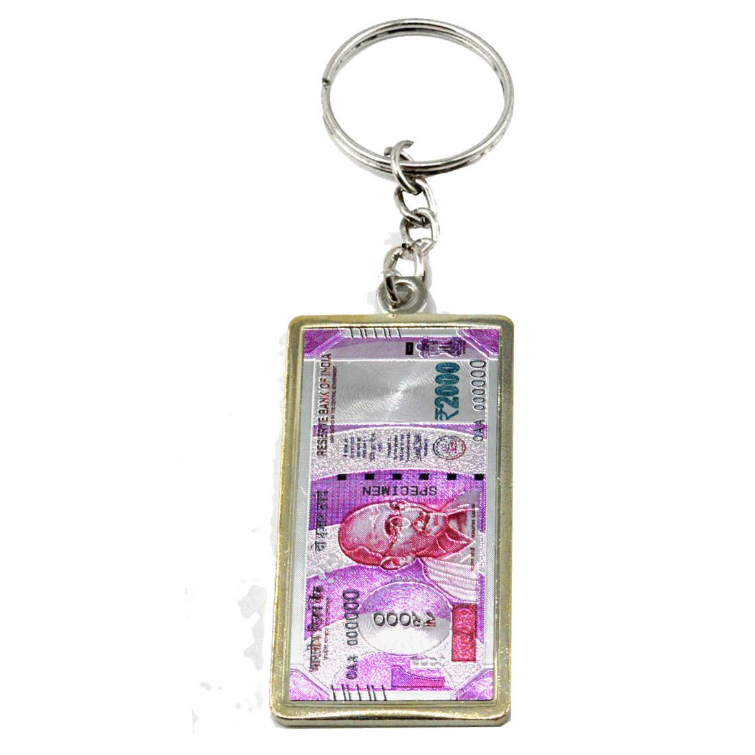 Faynci Indian 2000 rupees Currency Note High Quality Metal collectible Key Chain For Car Bike Bags