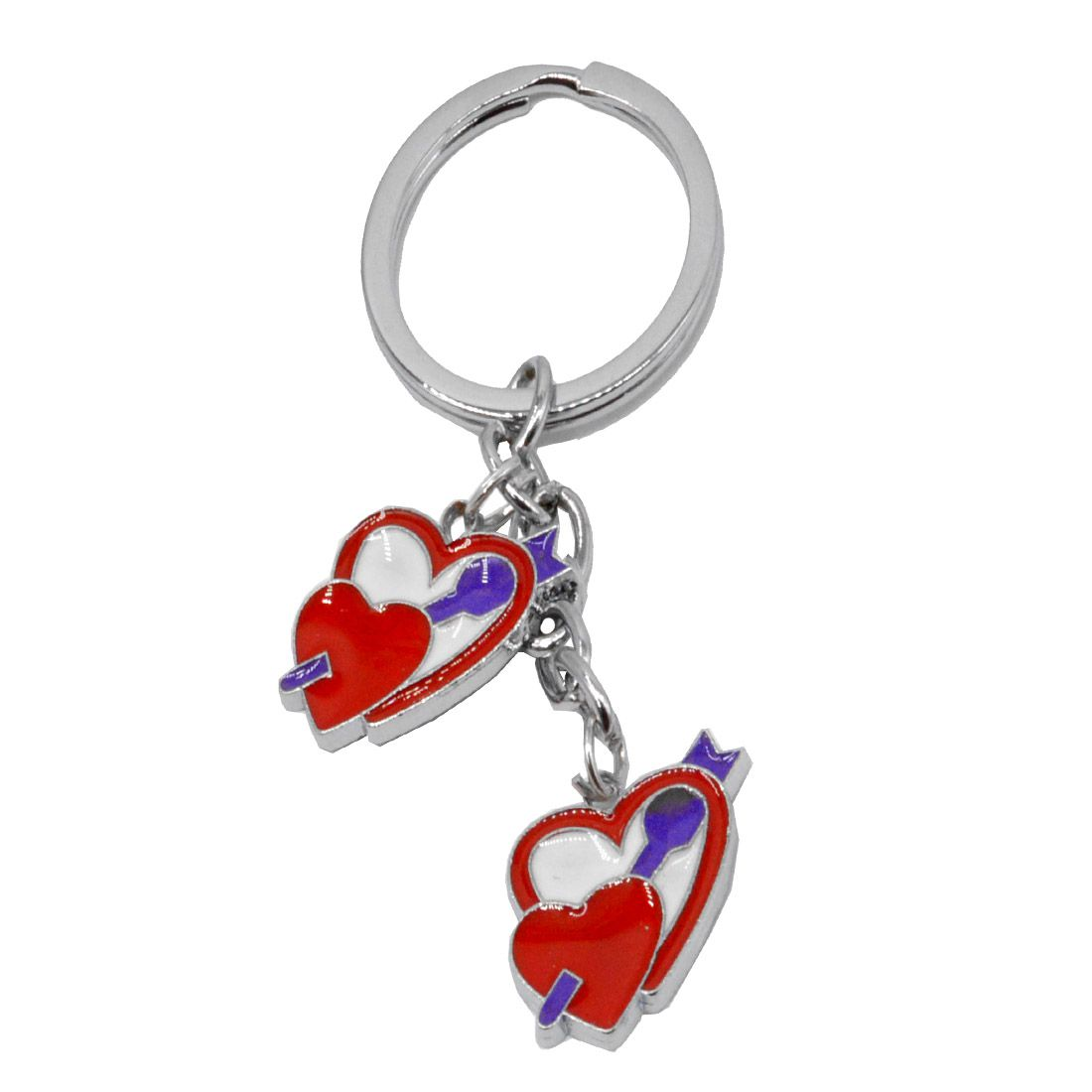 Faynci Unique Red & Silver Heart Shape Keychain for Birthday Gift, Friendship Gift