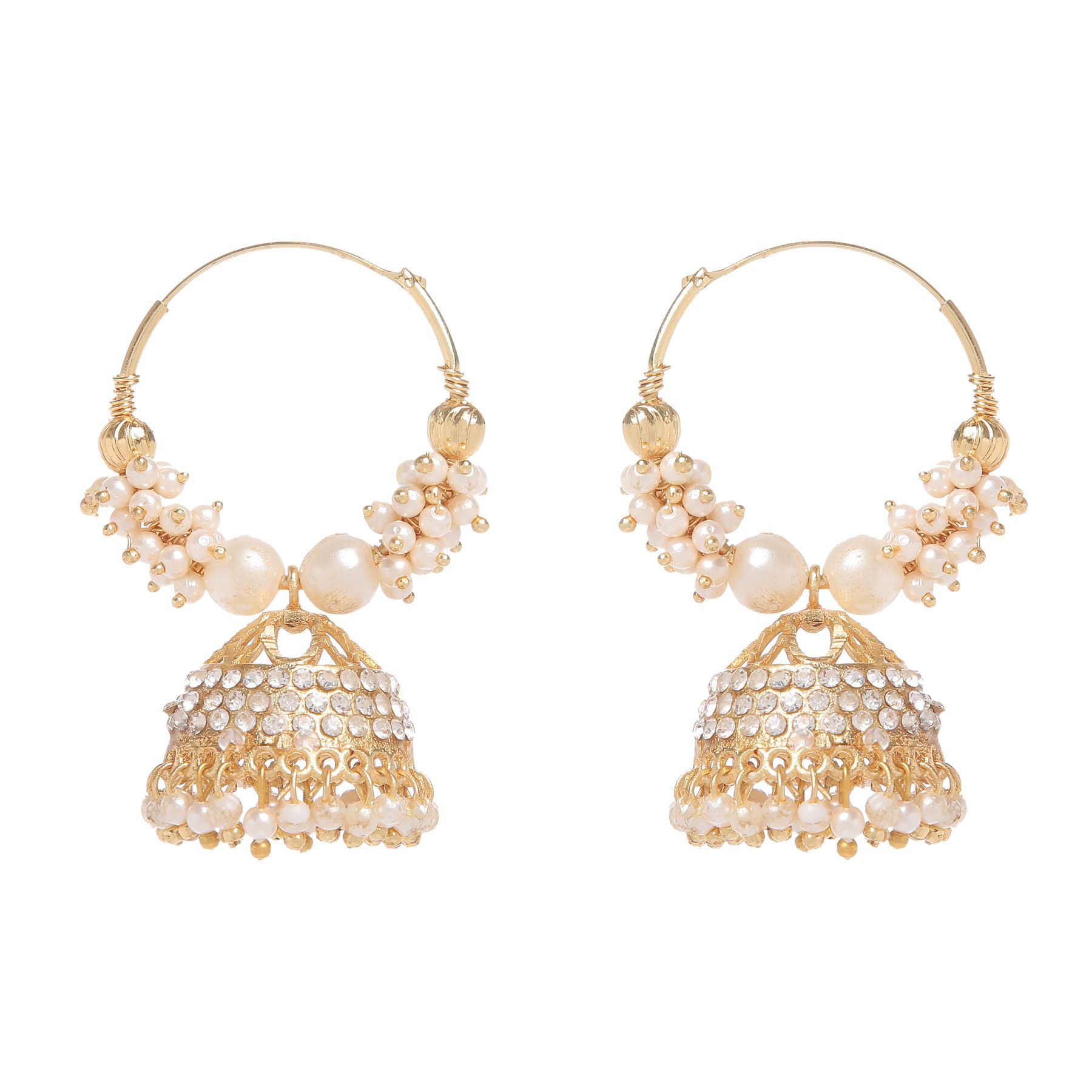 GoldNera Golden and White Alloy Jhumki Earrings