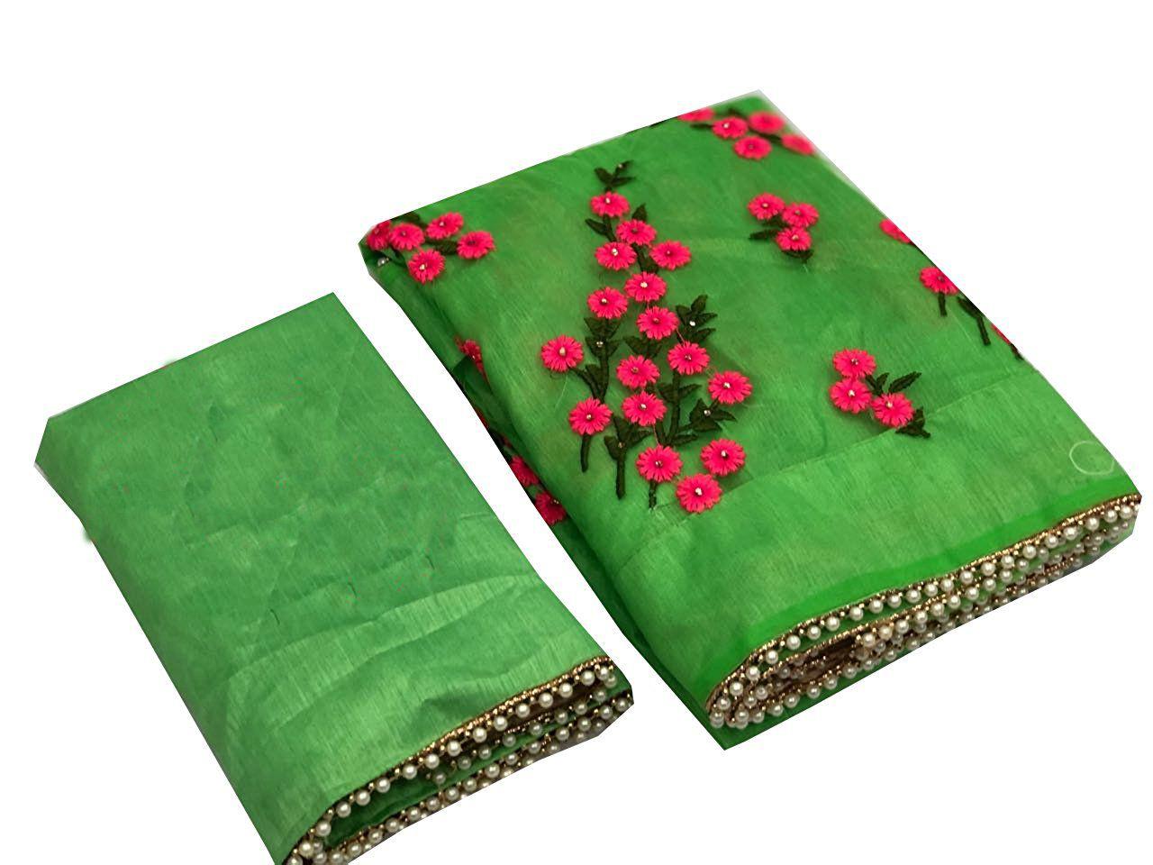 future india Green Net Saree