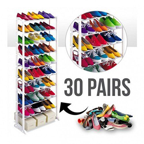 Gencliq Plastic 10 Tier Shoe Rack ( Carry Upto 30 Pairs ) - White