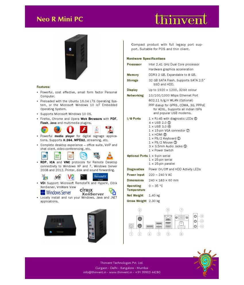 Thinvent Neo S Thin Client with 2GB RAM, 8GB SATA Flash, Linux OS