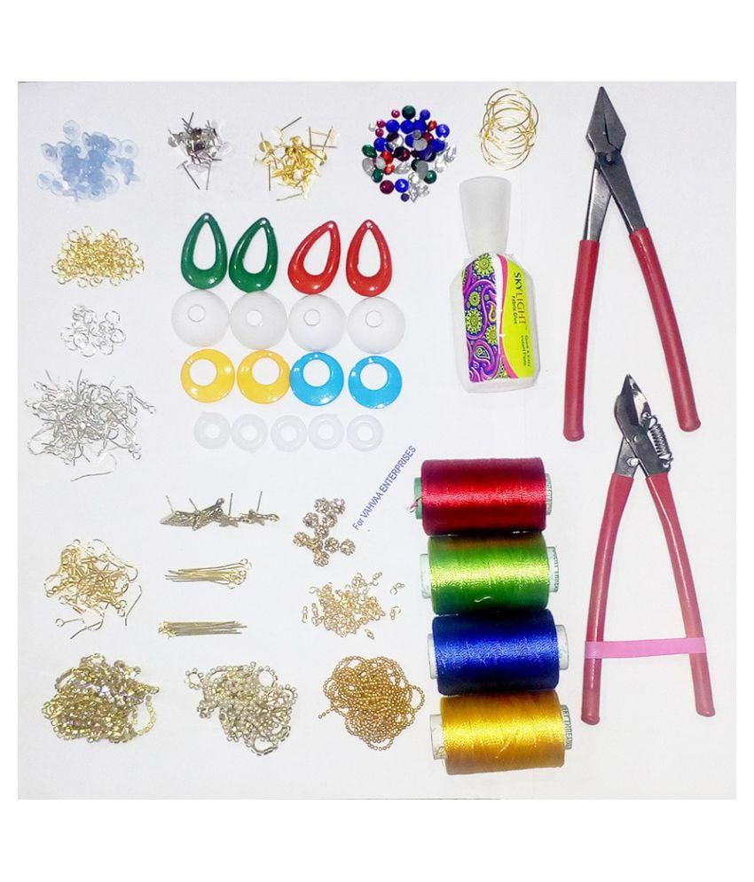 e43ec6a48d silk thread jewellery making kit- Earing making material with tools: Buy  Online at Best Price in India - Snapdeal