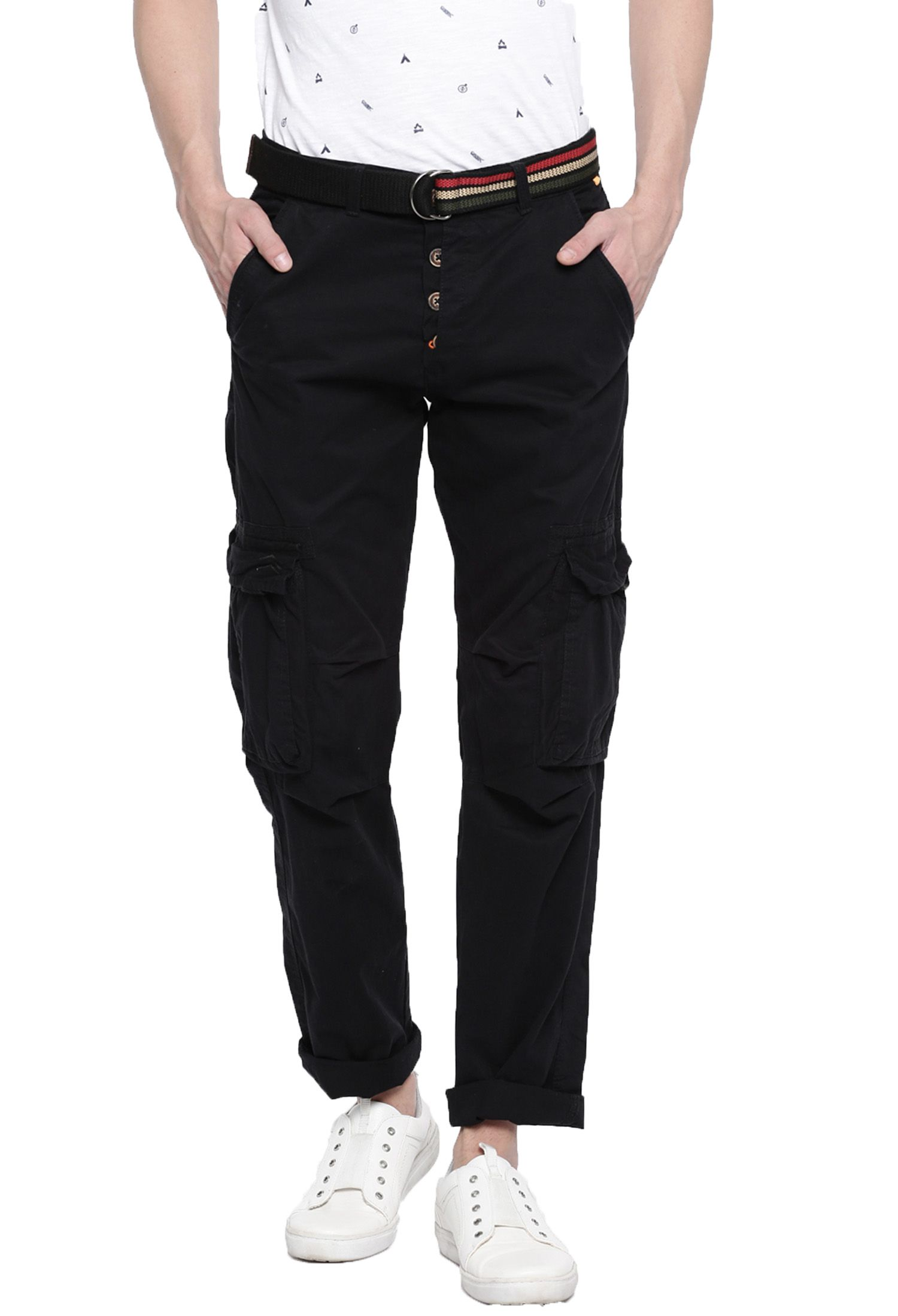 FIFTY TWO Black Regular -Fit Flat Cargos
