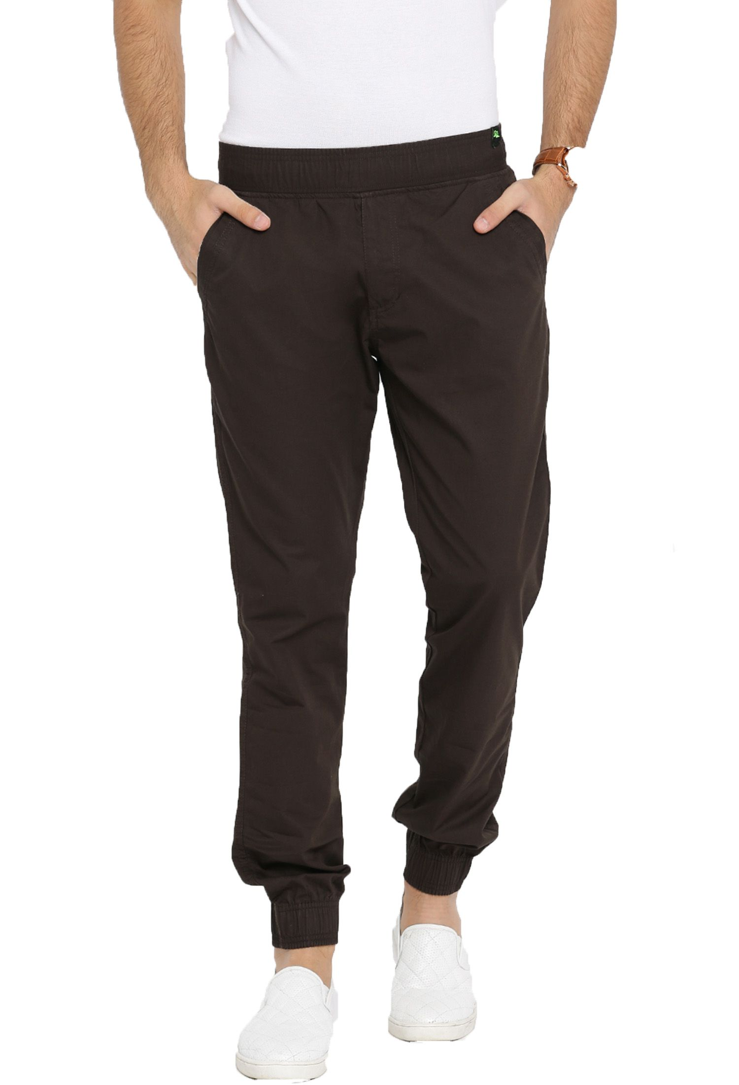 FIFTY TWO Brown Slim -Fit Flat Joggers
