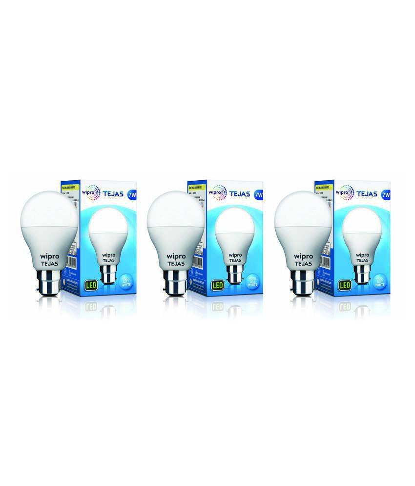 Wipro 7W Pack of 3 LED Bulbs