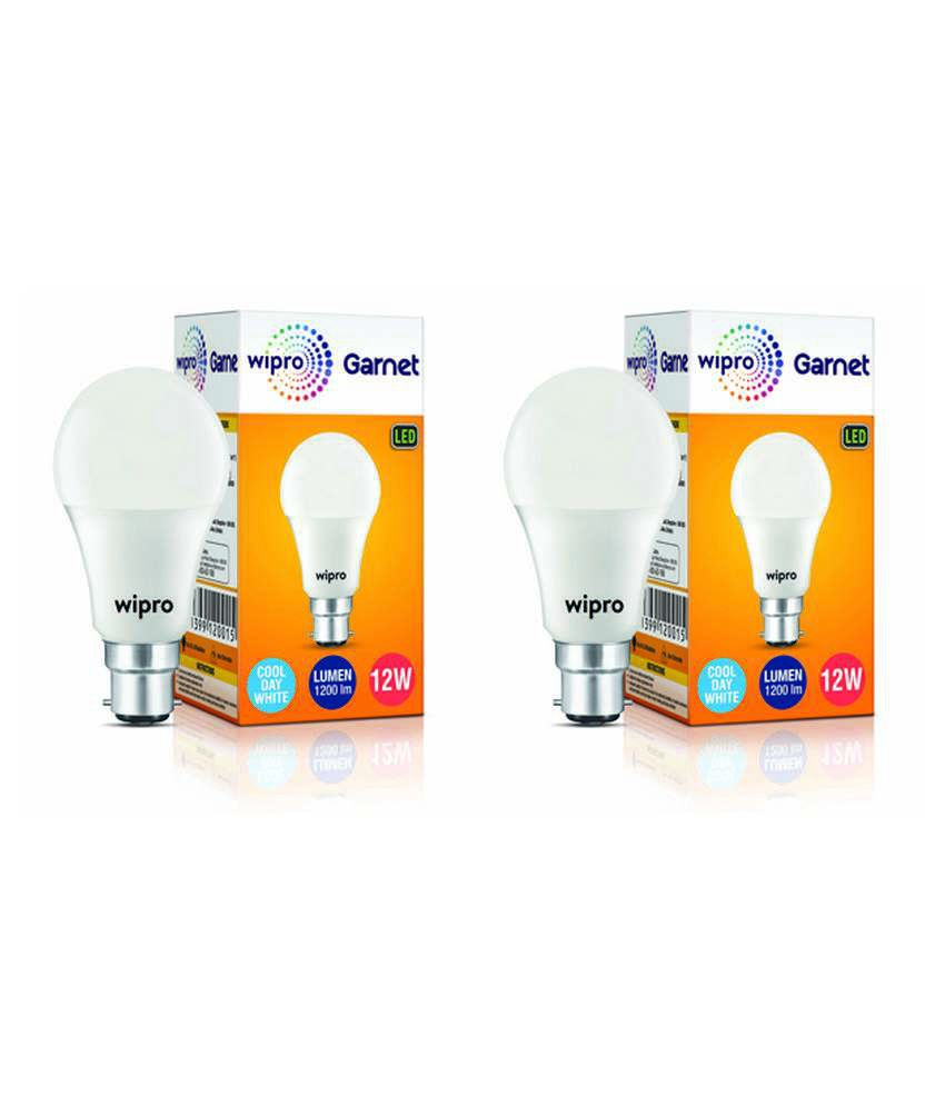Wipro Garnet 12W  Pack Of 2  LED Bulb 6500K  Cool Day Light