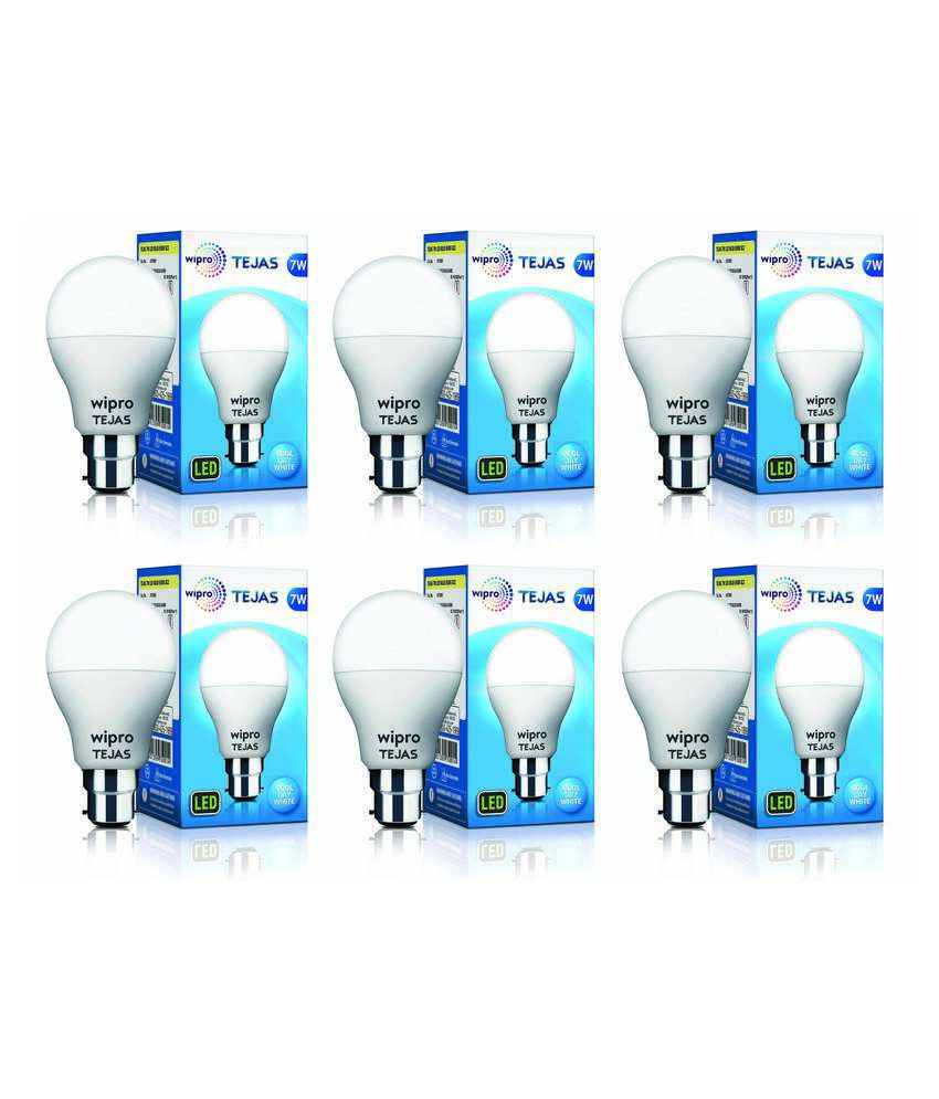 Wipro Tejas 7W  Pack of 6  LED Bulb  Cool Day Light