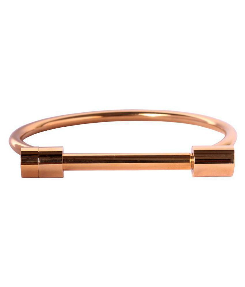 Handluv Cuff Style Gold Plated Stainless Steel Bracelet For Unisex