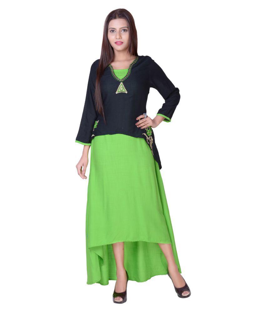 vedika overseas Green Cotton A-line Kurti