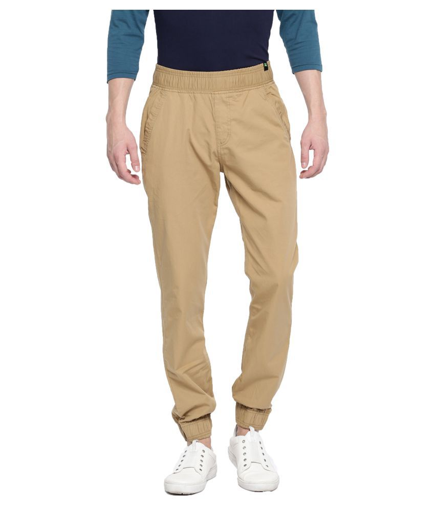 FIFTY TWO Beige Slim -Fit Flat Joggers