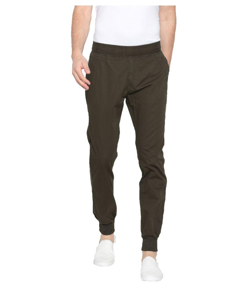 Sports 52 Wear Green Slim -Fit Flat Joggers