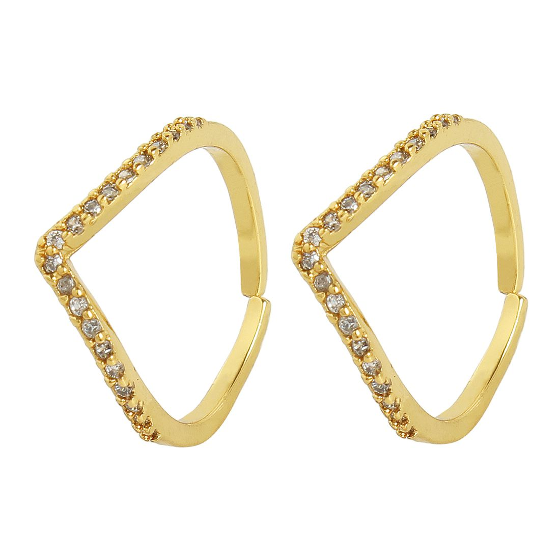 MUCH MORE Ethnic Gold Tone Toe Ring  With Crystal stone Traditional Jewellery for Women's