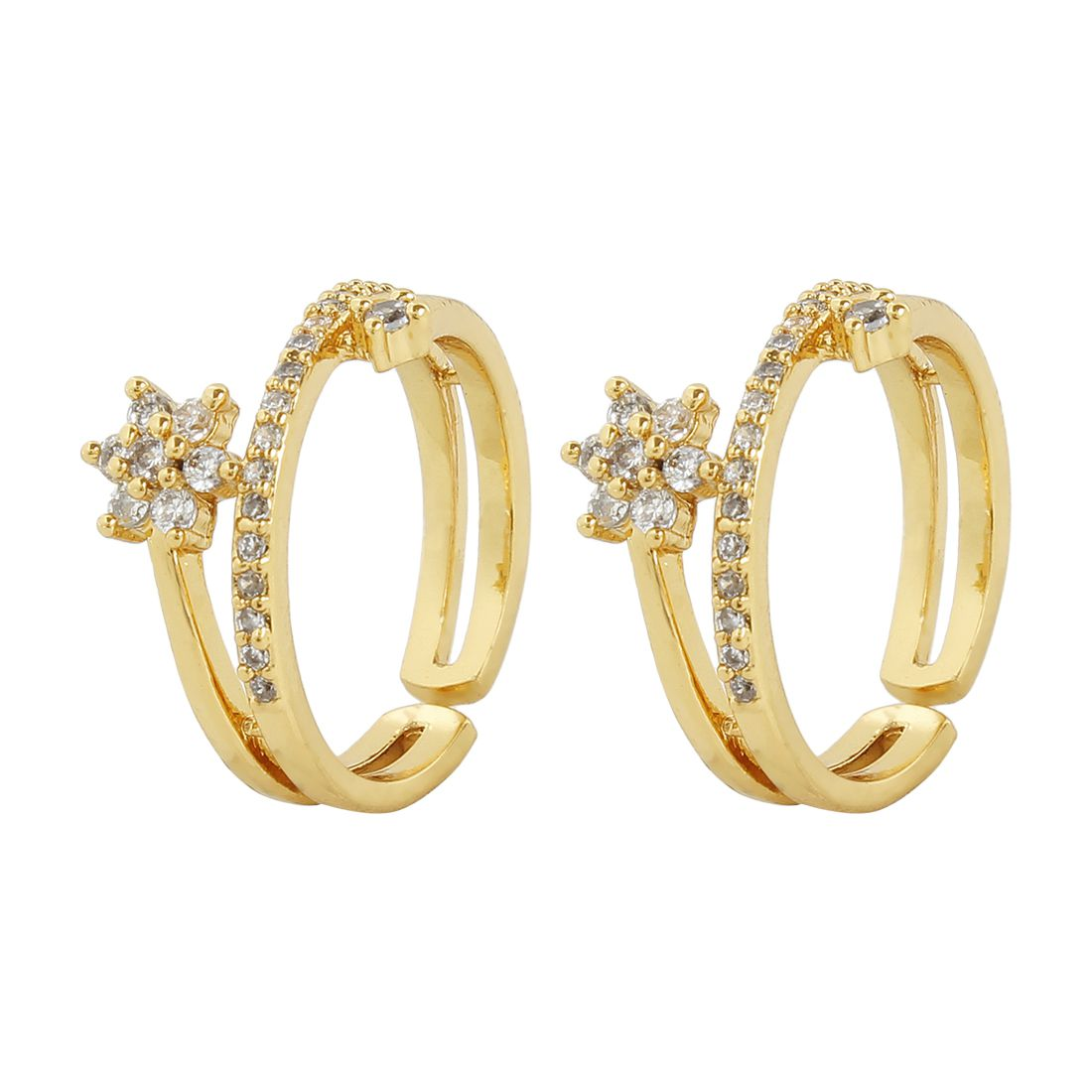 MUCH MORE Floral Shape Gold Tone Toe Ring Traditional Jewellery for Women's