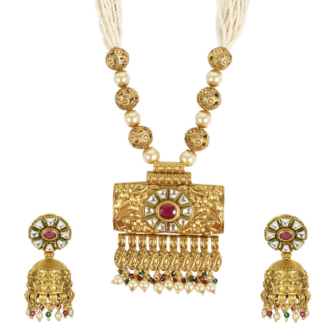 MUCH MORE Gorgeous Designer Gold Plated Polki Necklace Traditional Party wear Jewellery for Women's