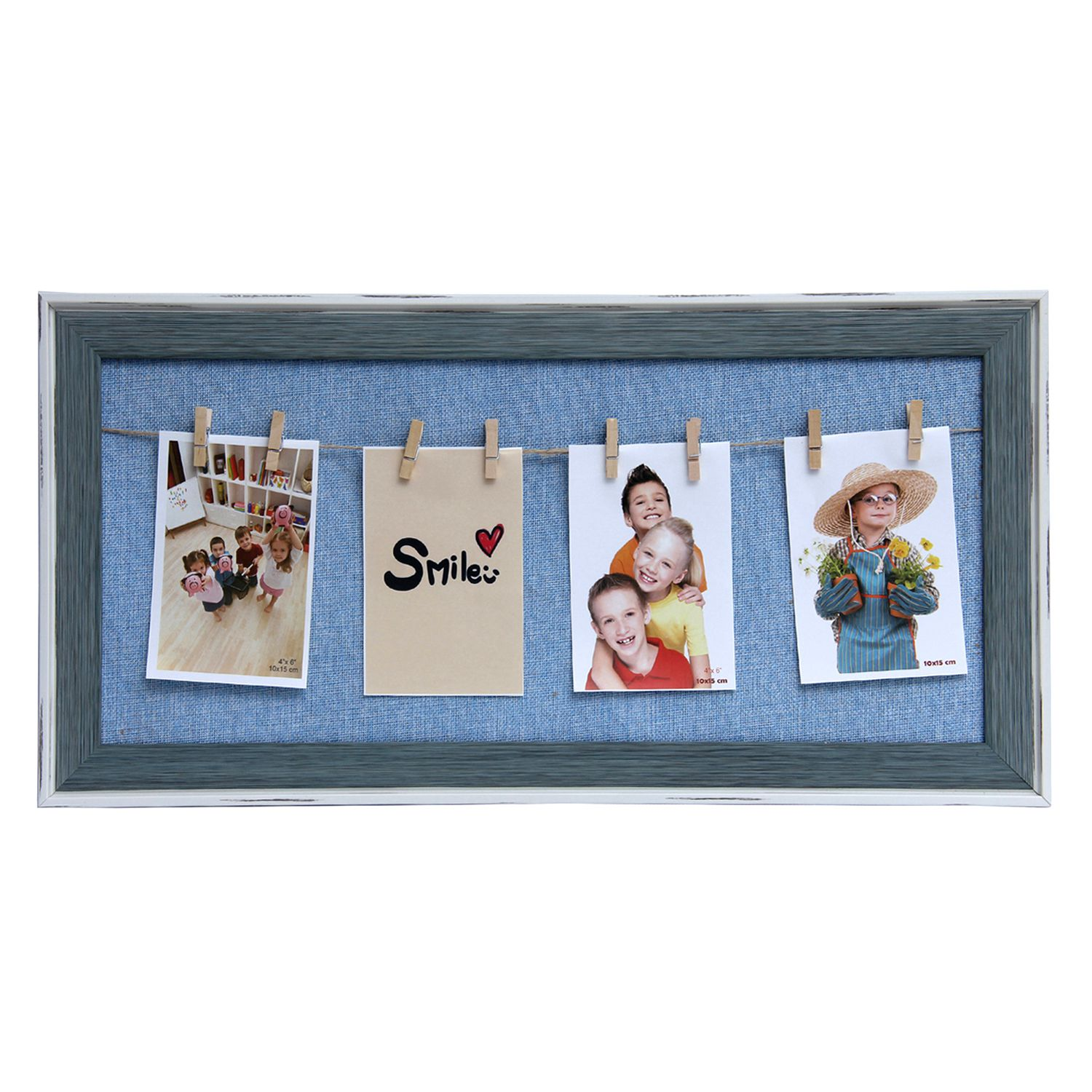 Tayhaa Wood Table Top & Wall hanging Blue Collage Photo Frame - Pack of 1