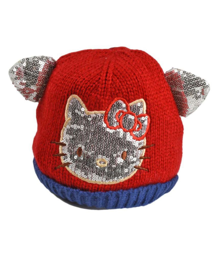 Tiekart Red Designer Winter Warm Woolen Cap for Kids