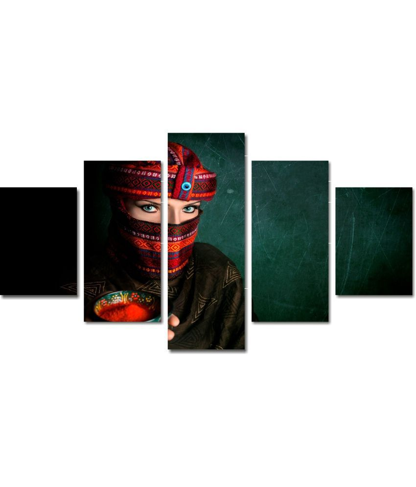 Anwesha's 5 Panel Stretched Digitally Printed Canvas Painting With Frame