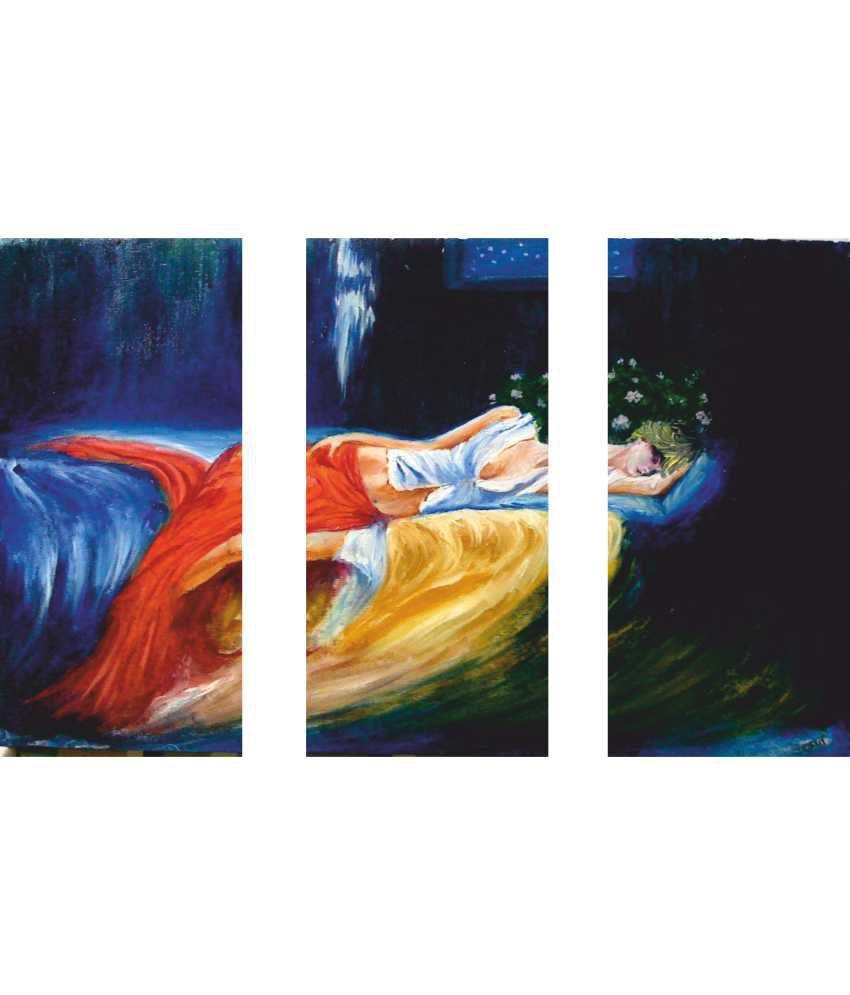 Anwesha's Sleeping Girl 3 Frame Split Effect Digitally Printed Canvas Painting With Frame
