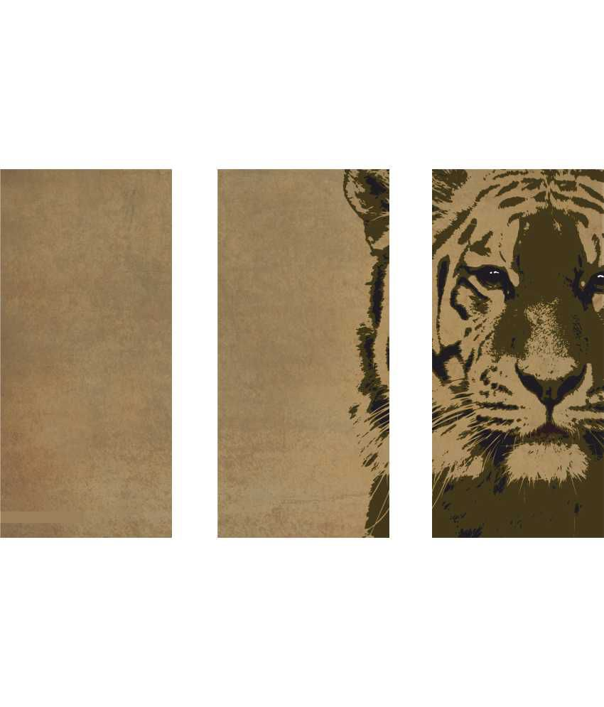 Anwesha's Tiger On Brown 3 Frame Split Effect Digitally Printed Canvas Painting With Frame