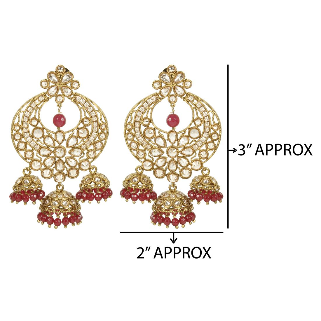 MUCH MORE  Amazing Polki Earrings With Crystal & Ruby Stone for Women's