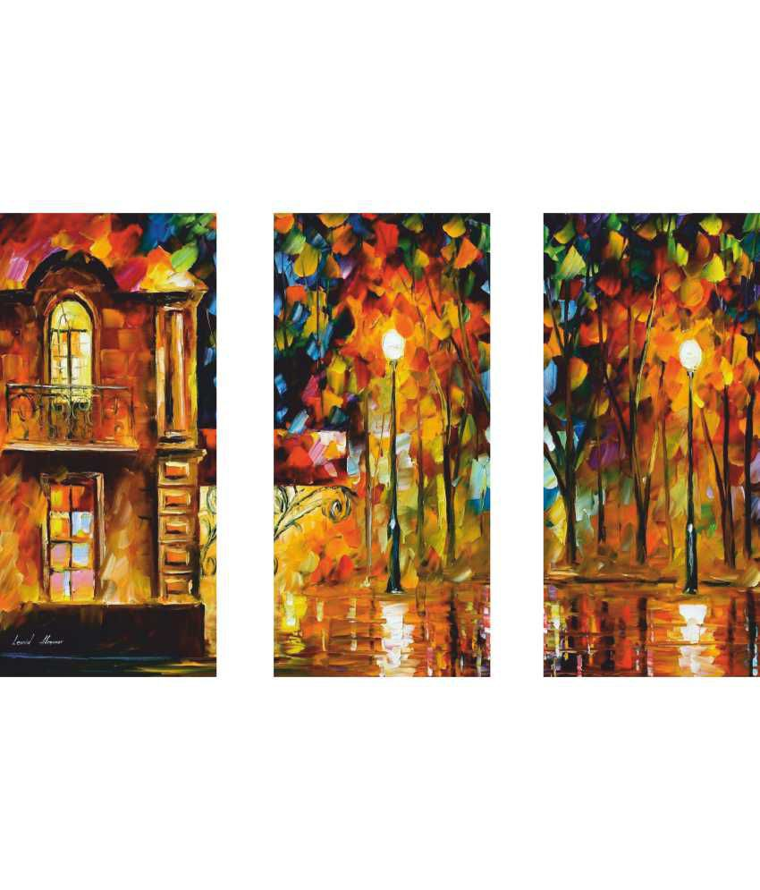 Anwesha's Home 3 Frame Split Effect Digitally Printed Canvas Painting With Frame