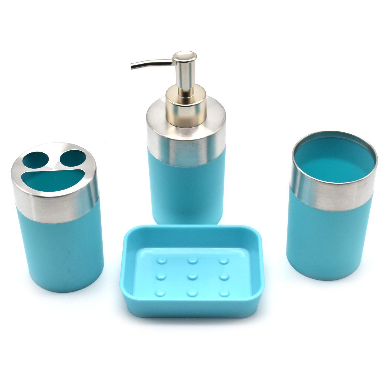 Buy SHOPNJAZZ Acrylic Bathroom Accessories Set of 4 Pc - Blue Online ...