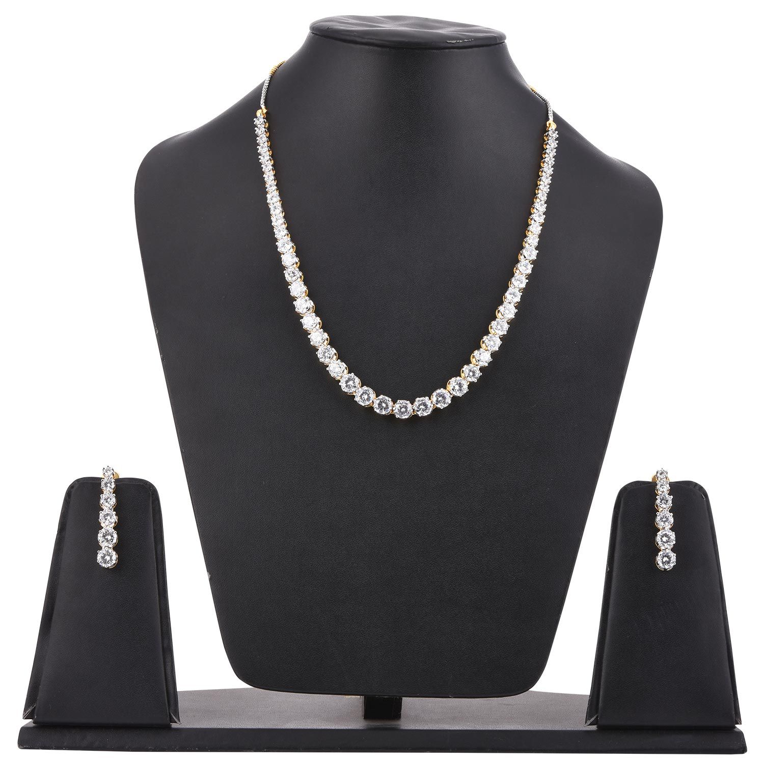 Tistabene Classic Modern Single Line Solitaire Latest Trendy Party Wear Necklace Set For Women and Girls (NS-0772)