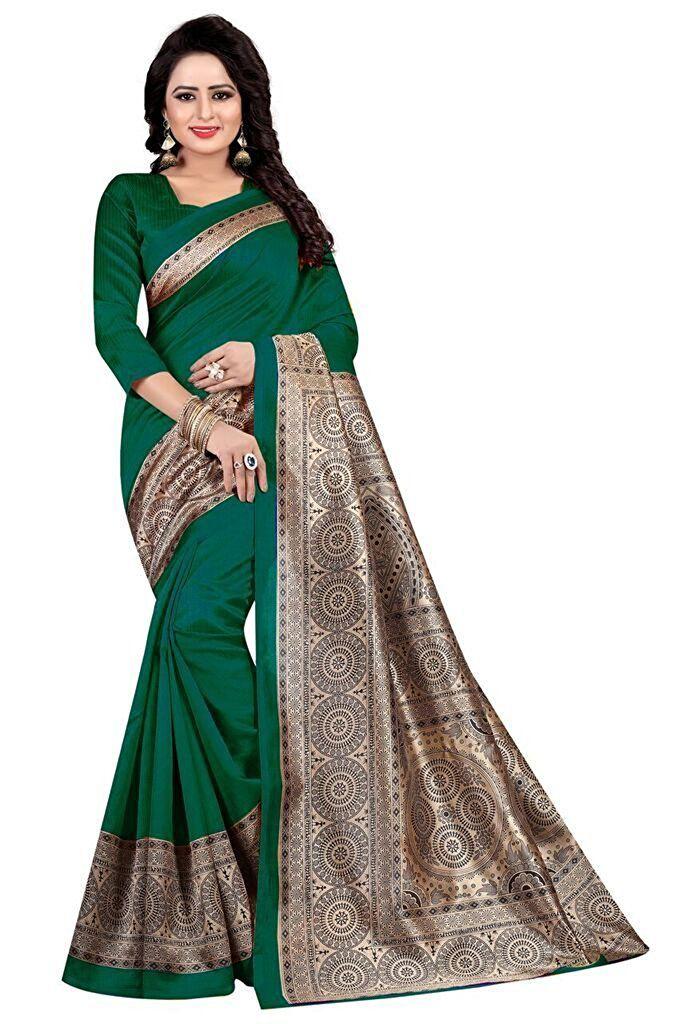 Latest Fashion Green Cotton Saree