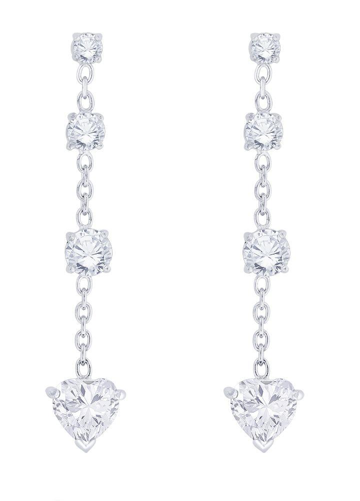 Taraash 92.5 Silver Cubic zirconia Drop Earrings