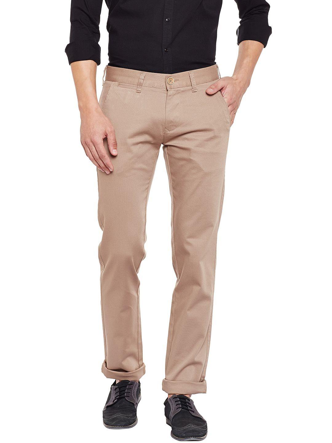 KILLER Brown Slim -Fit Flat Trousers