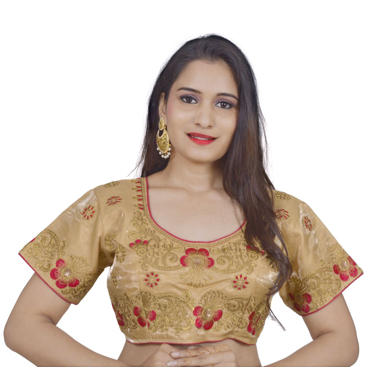 NAMI Beige Cotton Readymade with Pad Blouse