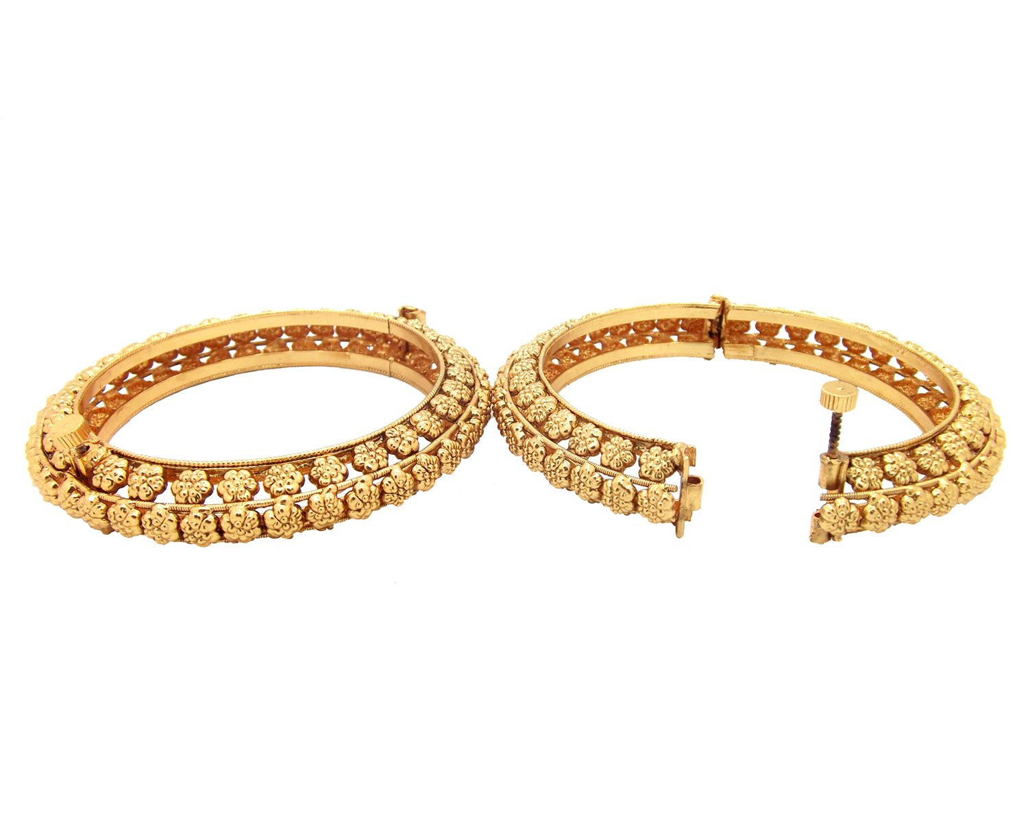 9blings Gold Plated Traditional Floral 2pc Screw Openable Bangle