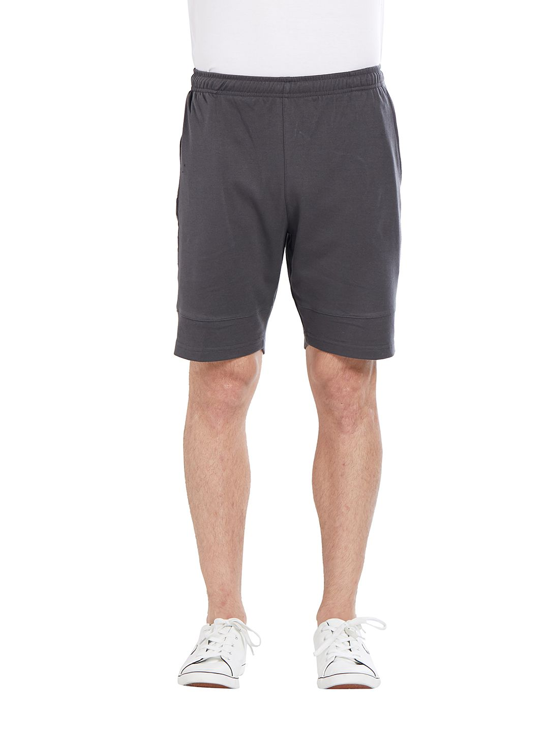 BONATY Grey Blended Cotton Solid  Shorts For Men