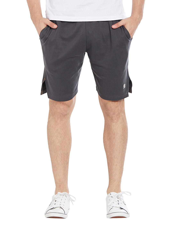 BONATY Grey Blended Cotton Solid  Shorts For Men