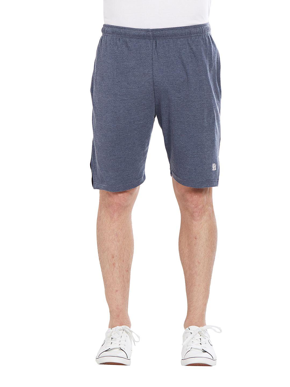 BONATY Navy Blue 100% Polyester Solid  Shorts For Men