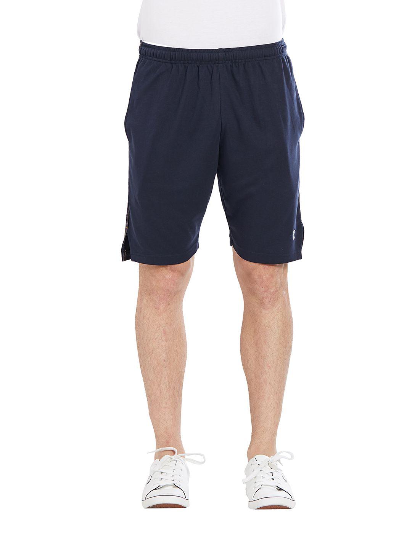 BONATY Navy Blue Blended Cotton Solid  Shorts For Men