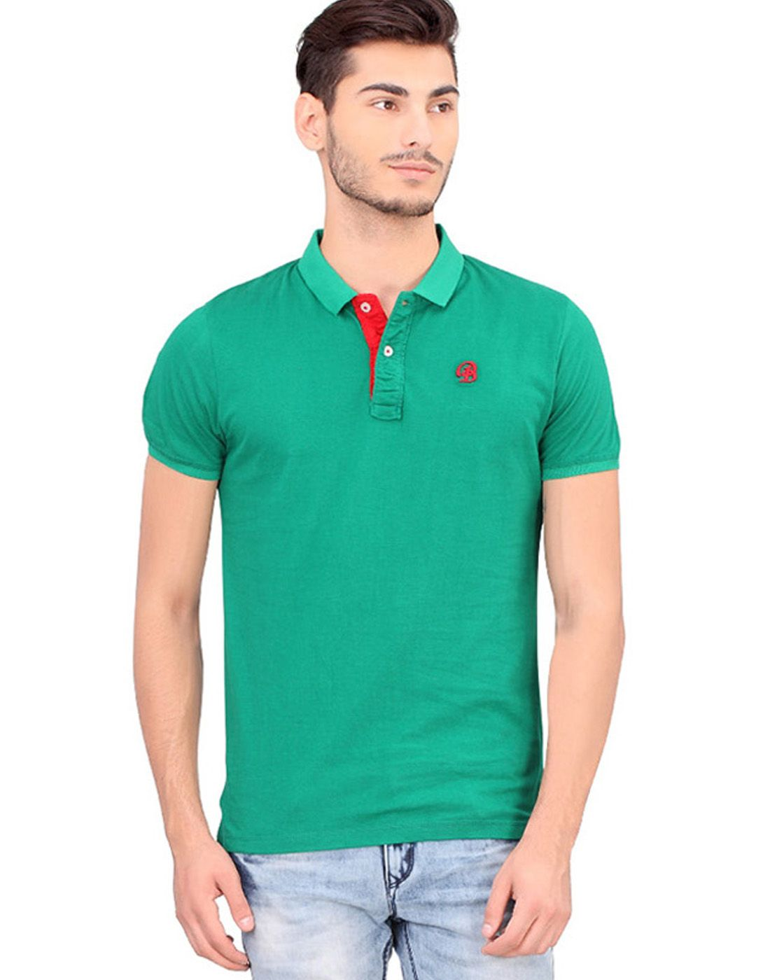 BONATY Green 100% Cotton Peach Finish Polo Neck Solid T-Shirt For Men