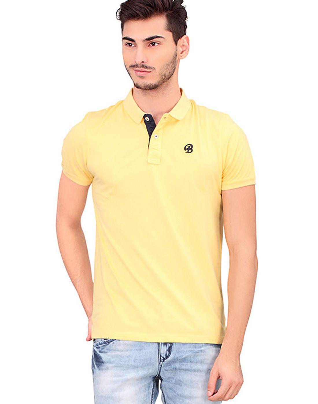 BONATY Yellow 100% Cotton Peach Finish Polo Neck Solid T-Shirt For Men