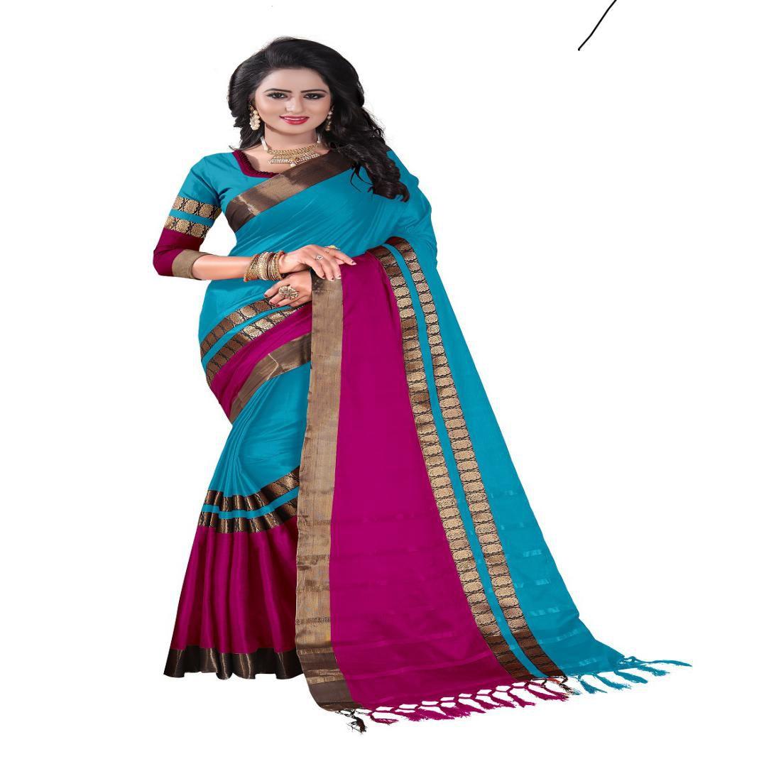 Genius Creation Multicoloured Cotton Silk Saree