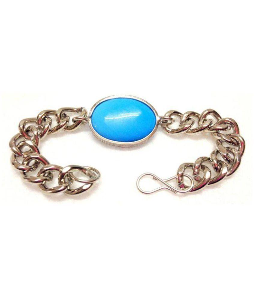 DzineTrendz Silver Plated Salman style Exact replica Turquoise Firoza Bollywood Bracelet for Men