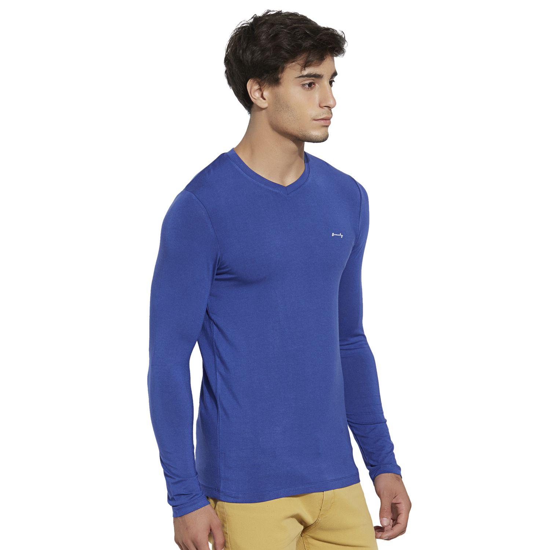 c2dfa2160 ... BONATY Royal Blue Micro Modal V-Neck Full Sleeves Solid T-Shirt For Men  ...