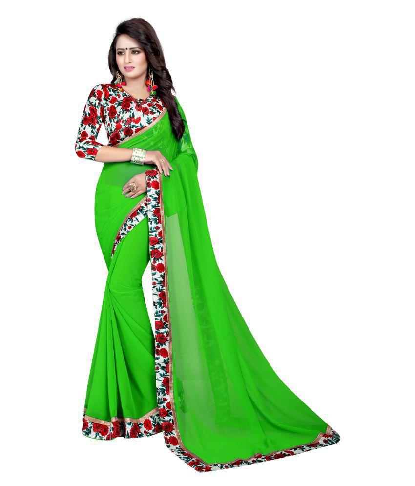 IndoPrimo Green Georgette Saree