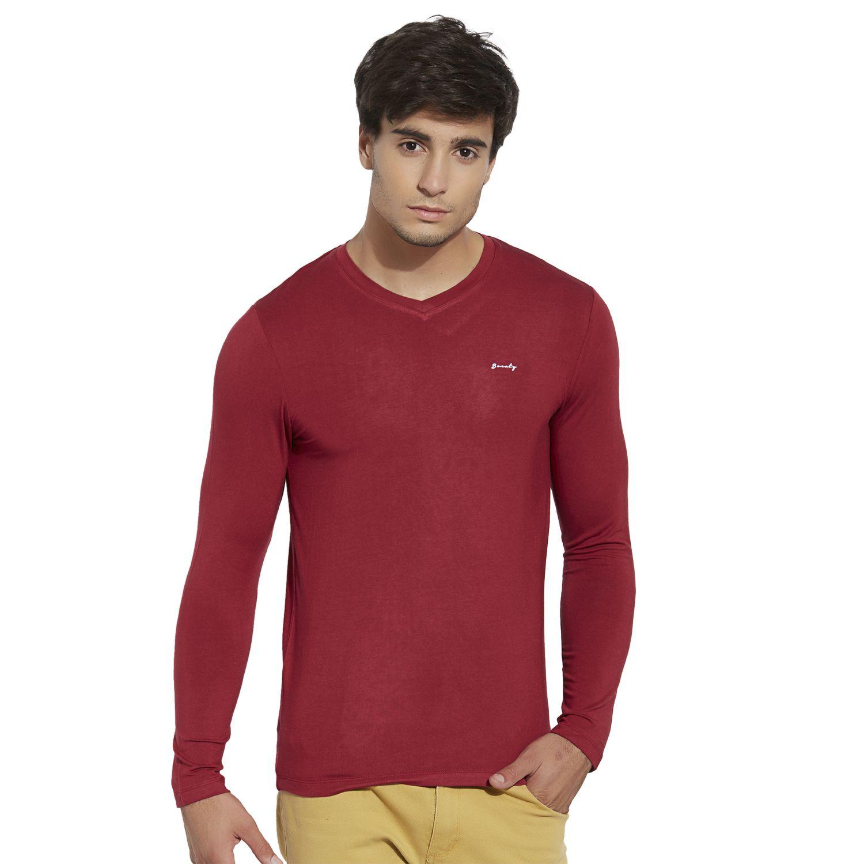 BONATY Red Micro Modal  V-Neck Full Sleeves Solid T-Shirt For Men