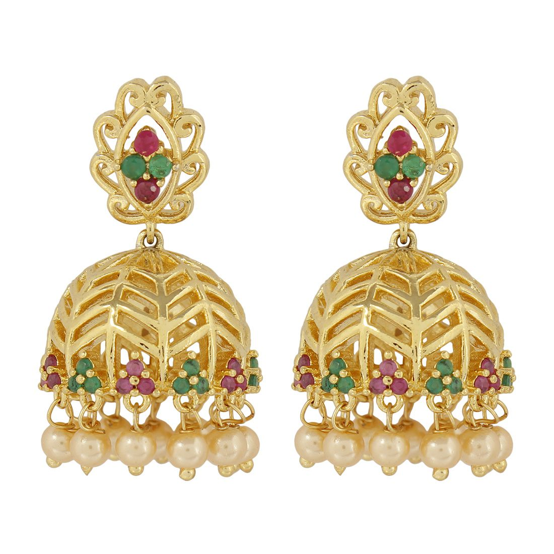 MUCH MORE Trendy American Diamond CZ Fashion Ruby & Emerald Stone Jewellery Traditional Jhumki Earrings