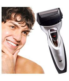 Jm Kemei Rechargeable Cordless Double Bladed Hair Shaver with Trimmer Clipper for Men Foil Shaver ( Black & White )
