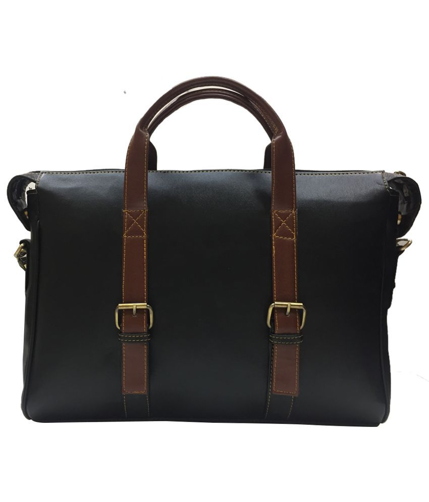 Sultaan PU Leather Black Laptop Office Bag